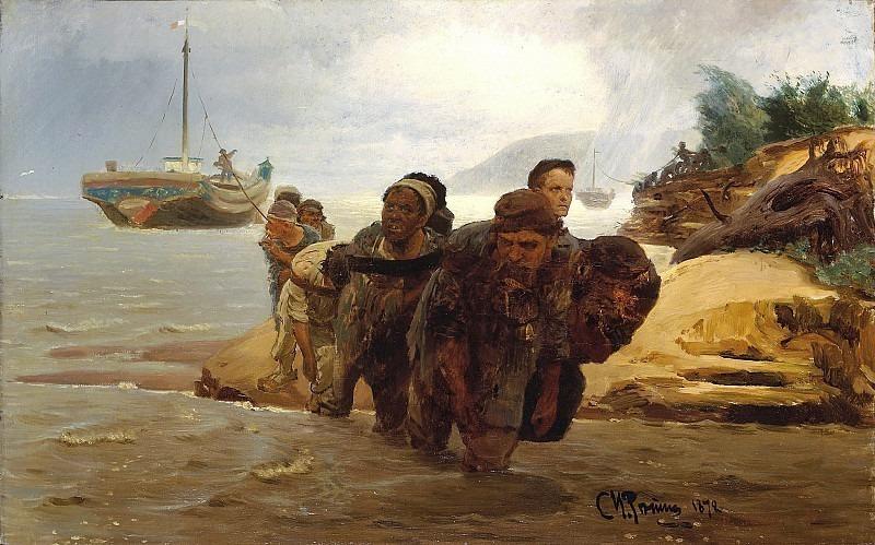 Barge haulers fording. Ilya Repin