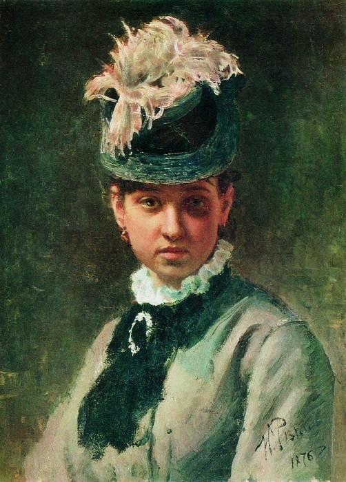 Portrait VA Repina, wife of the artist. 1876. Ilya Repin