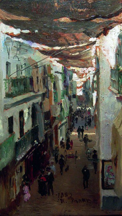 Snake street in Seville. 1883. Ilya Repin