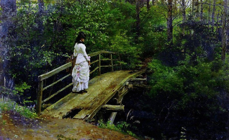 Summer Landscape (Vera A. Repin on the bridge in Abramtsevo). 1879. Ilya Repin