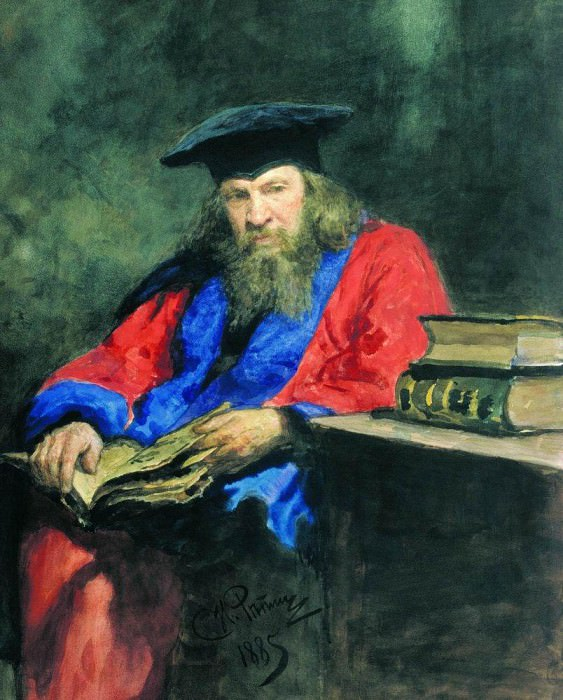 Portrait of Dmitry Mendeleev professor at Edinburgh University. Ilya Repin