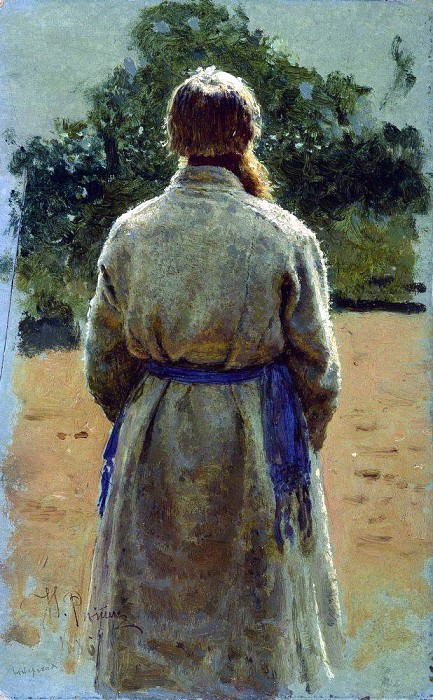 sergeant, from the back, lit by the sun. 1885. Ilya Repin