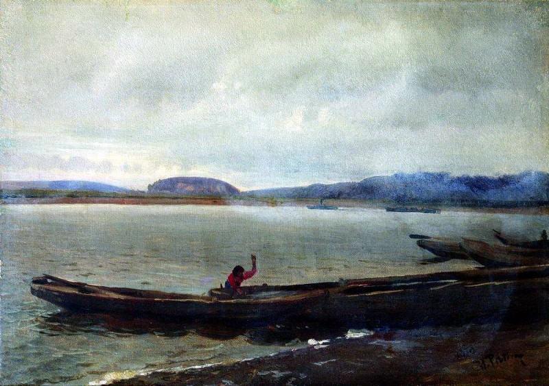 Volga landscape with boats. 1870. Ilya Repin