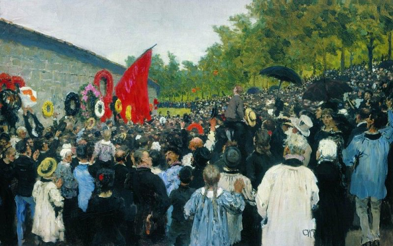 Annual memorial rally at the Wall of the Communards in the Pere Lachaise cemetery in Paris. Ilya Repin