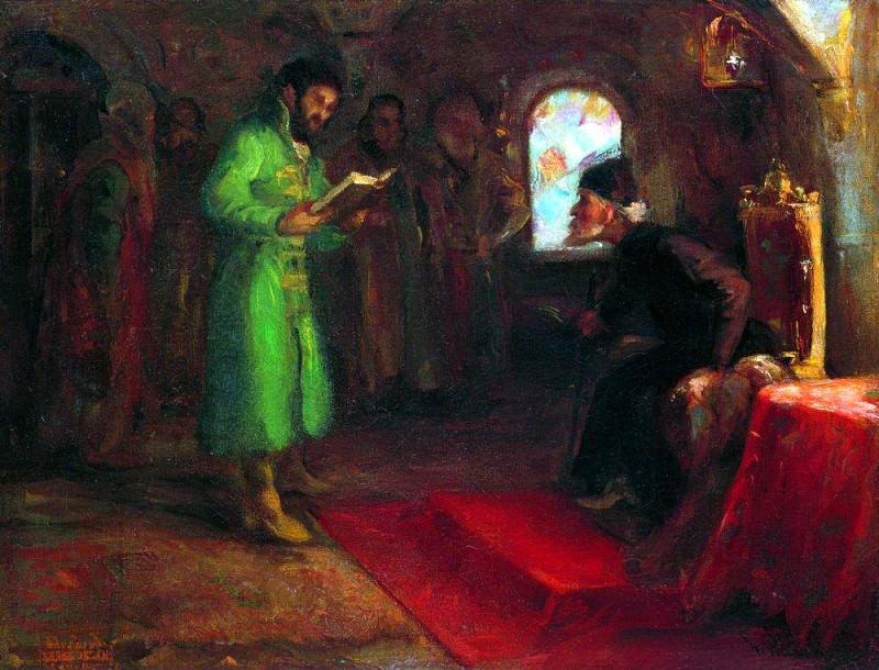 Boris Godunov with Ivan the Terrible. Ilya Repin