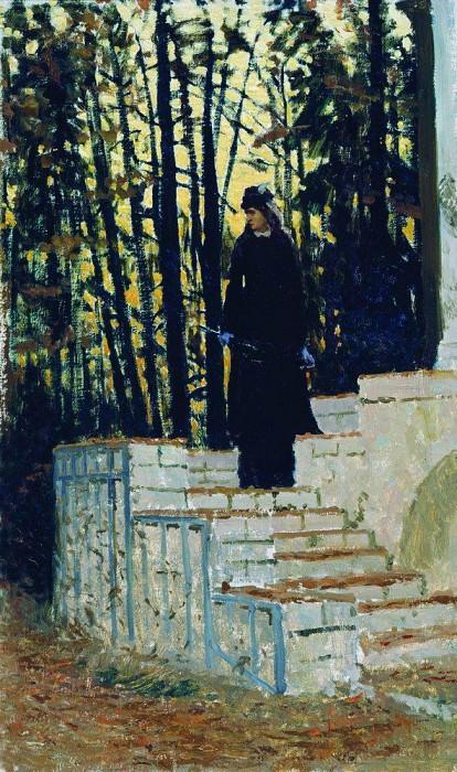 Female figure in a landscape. 1883. Ilya Repin