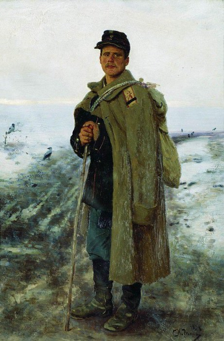 At home. The hero of the last war. 1878. Ilya Repin