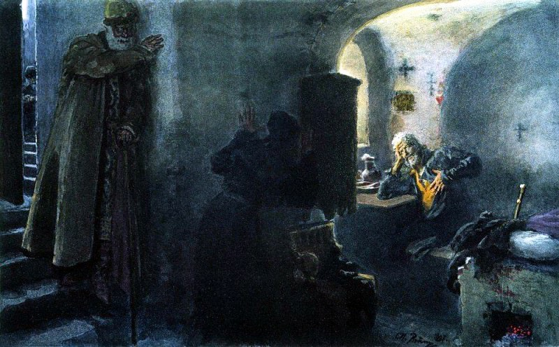 Enoch Filaret incarcerated in the Antony of Siya Monastery. Ilya Repin