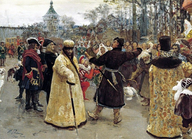 Arrival of the kings of John and Peters on Cemenivskiy funny court accompanied by his suite. 1900. Ilya Repin