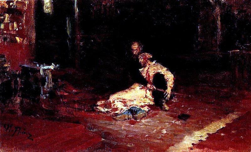 Ivan the Terrible and his son Ivan. 1883, 1899. Ilya Repin