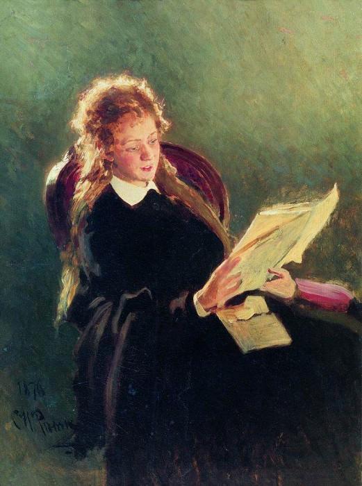 Read the girl. 1876. Ilya Repin