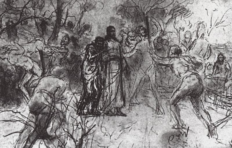 Betrayal in Gethsemane. 1888. Ilya Repin