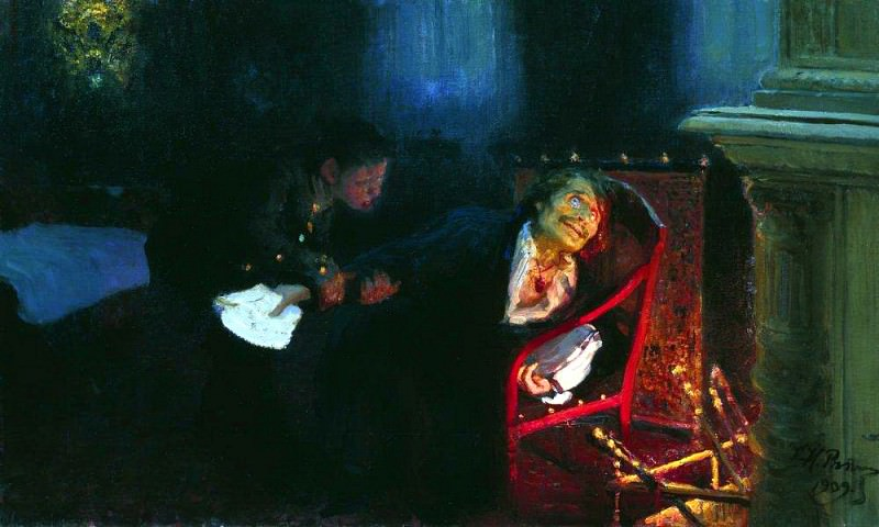 Self-immolation by Gogol. 1909. Ilya Repin