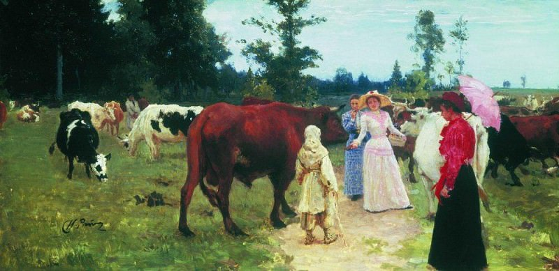 Ladies among the herds of cows. Ilya Repin