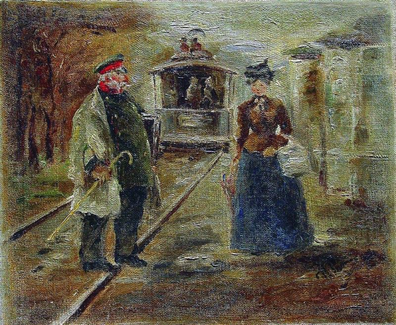 On the train platform. Street Scene with receding competitive. 1890. Ilya Repin