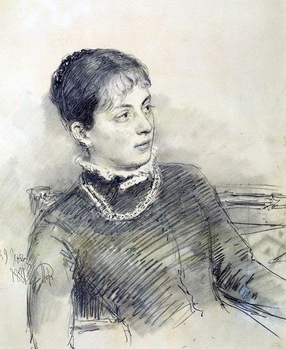 Portrait of a young wife, sitting on the couch. 1881. Ilya Repin