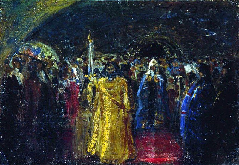 Exit Patriarch Hermogenes. 1881. Ilya Repin