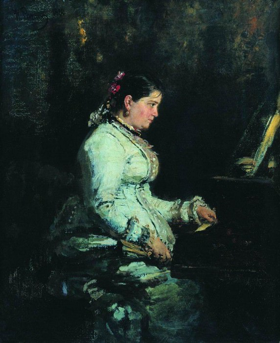 For piano. Portrait of SV Tarnovskaya. 1880. Ilya Repin