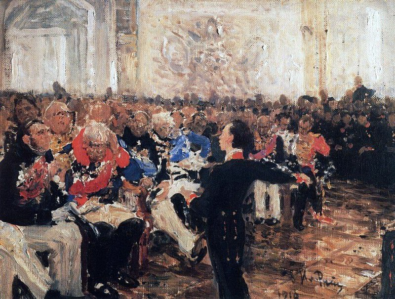 A. Pushkin on the act in the Lyceum on Jan. 8, 1815. 1910. Ilya Repin