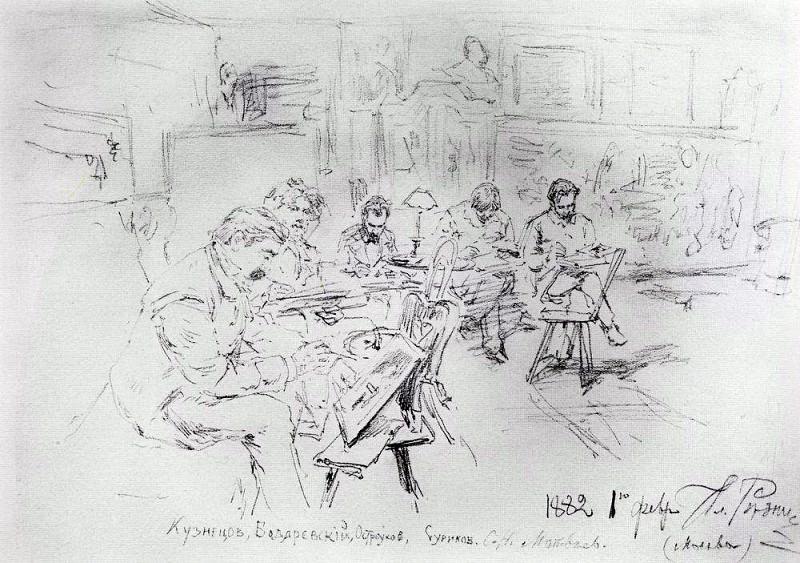 В мастерской И. Е. Репина. Рисовальный вечер. 1882. Илья Ефимович Репин
