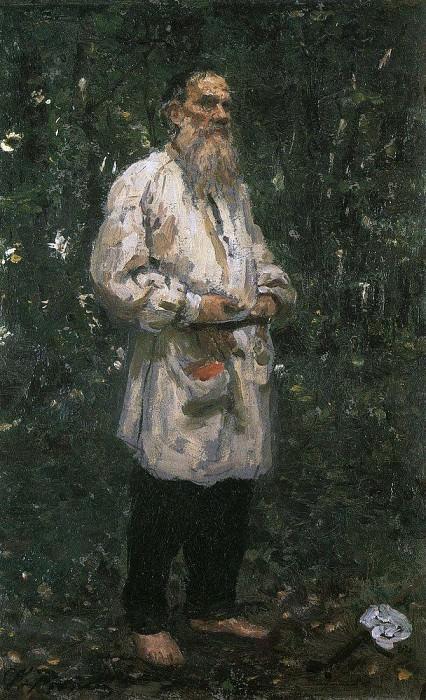 LA Tolstoy barefoot. 1891. Ilya Repin