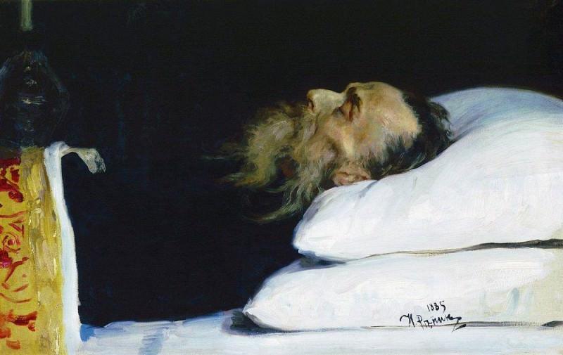 Historian Nikolay Kostomarov in the coffin. 1885. Ilya Repin