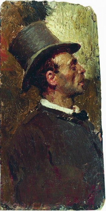 Man in the cylinder. 1875. Ilya Repin