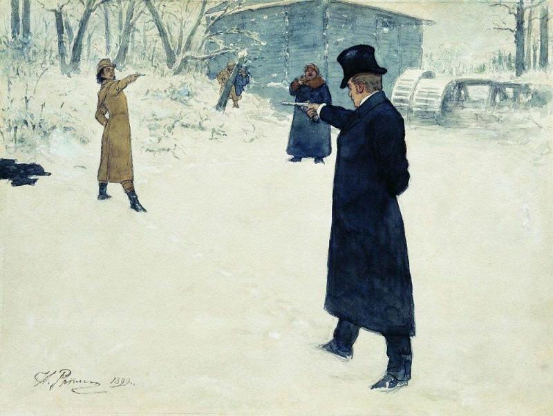 duel between Onegin and Lensky. 1899. Ilya Repin