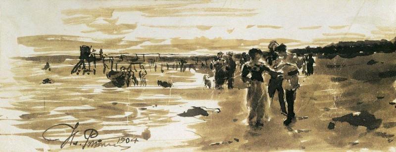 On the beach. 1904. Ilya Repin