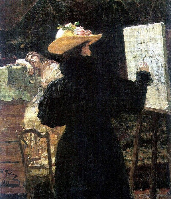 M. Tenisheva at work. 1897. Ilya Repin