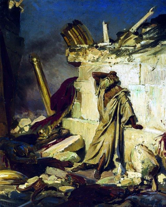 Lamentations of Jeremiah the prophet on the ruins of Jerusalem. 1870. Ilya Repin