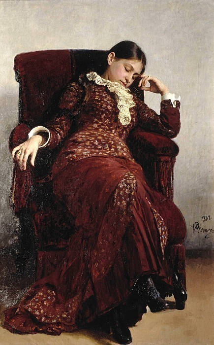Recreation. Portrait of V.A. Repina, the artist's wife. Ilya Repin