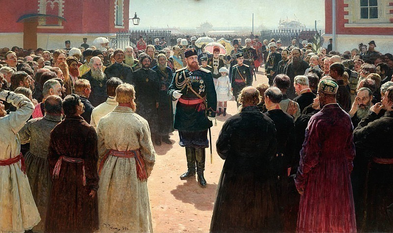 Admission township heads Emperor Alexander III in the courtyard of Petrovsky Palace in Moscow. 1885-1886. Ilya Repin