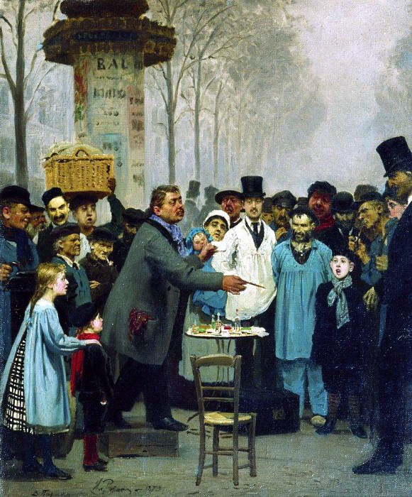 Sold news in Paris. 1873. Ilya Repin