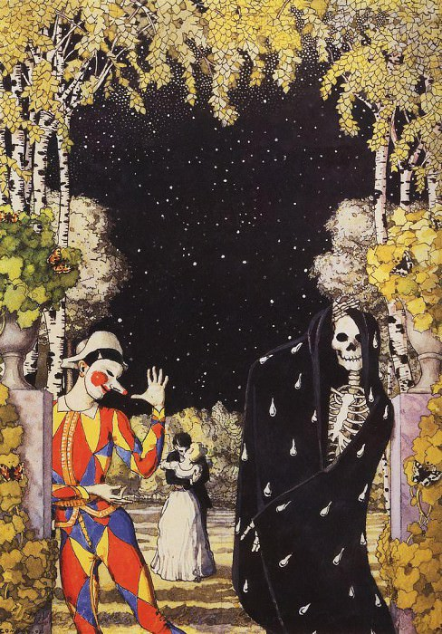 Harlequin and death. 1907. Konstantin Andreevich (1869-1939) Somov