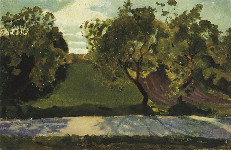 green slope on the road. Martyshkino. 1902. Konstantin Andreevich (1869-1939) Somov
