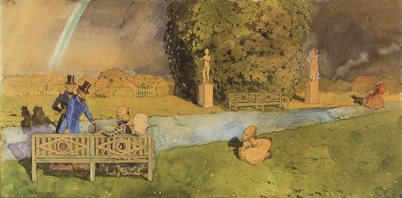 Kiss. Illustration to the Book markizy2. 1908. Konstantin Andreevich (1869-1939) Somov