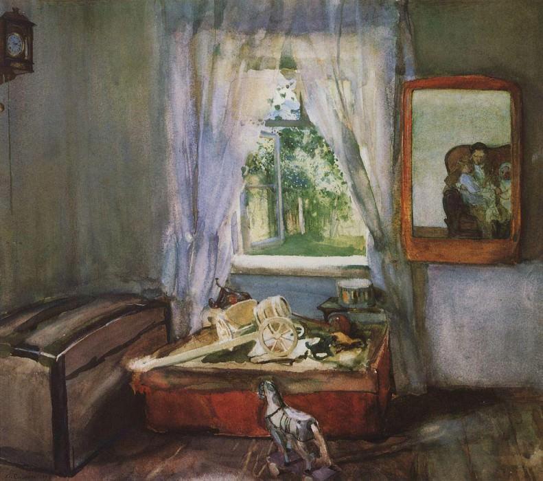 In the nursery. 1898. Konstantin Andreevich (1869-1939) Somov