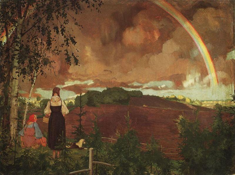 Пейзаж с двумя крестьянскими девушками и радугой. 1918. Сомов Константин Андреевич (1869-1939)
