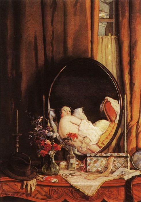 Intimate reflection in the mirror on the dressing table. 1934. Konstantin Andreevich (1869-1939) Somov