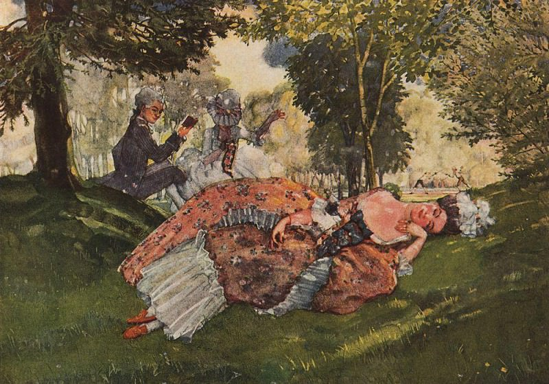 fallen asleep on the grass a young woman. 1913. Konstantin Andreevich (1869-1939) Somov