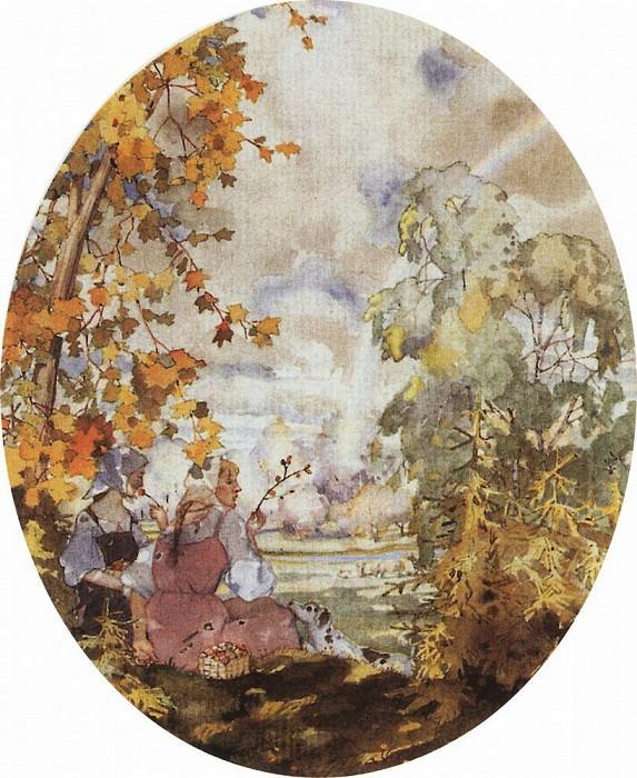 Пасторальная сцена с двумя девушками. 1928. Сомов Константин Андреевич (1869-1939)
