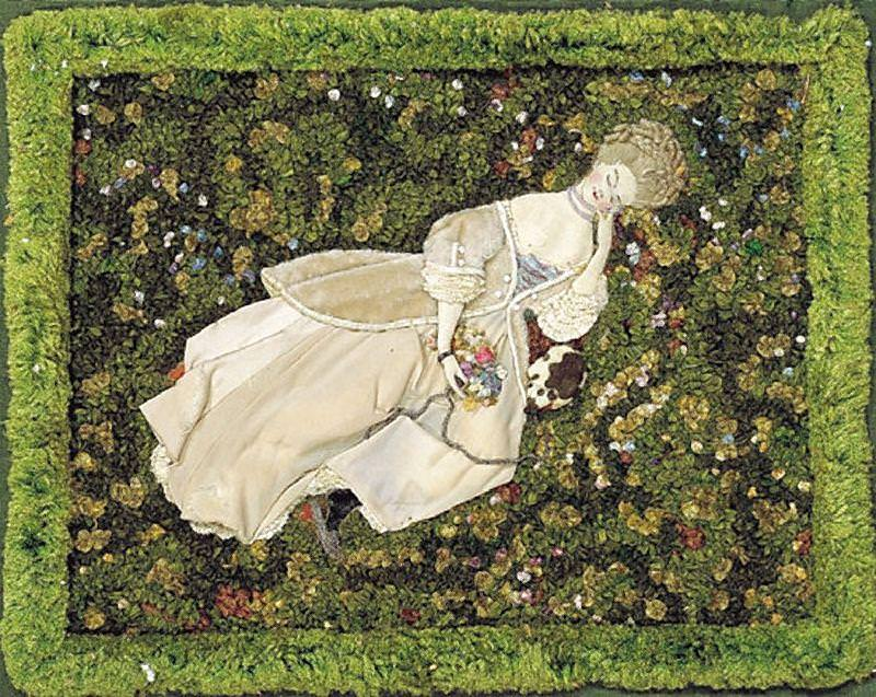 Lady with a dog resting on the lawn. Konstantin Andreevich (1869-1939) Somov