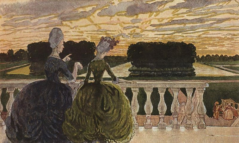 Two ladies on the terrace. 1896. Konstantin Andreevich (1869-1939) Somov