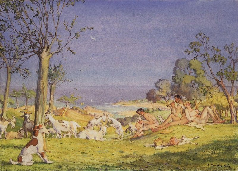 Illustration for the novel Daphnis and Long Hloya1. 1930. Konstantin Andreevich (1869-1939) Somov