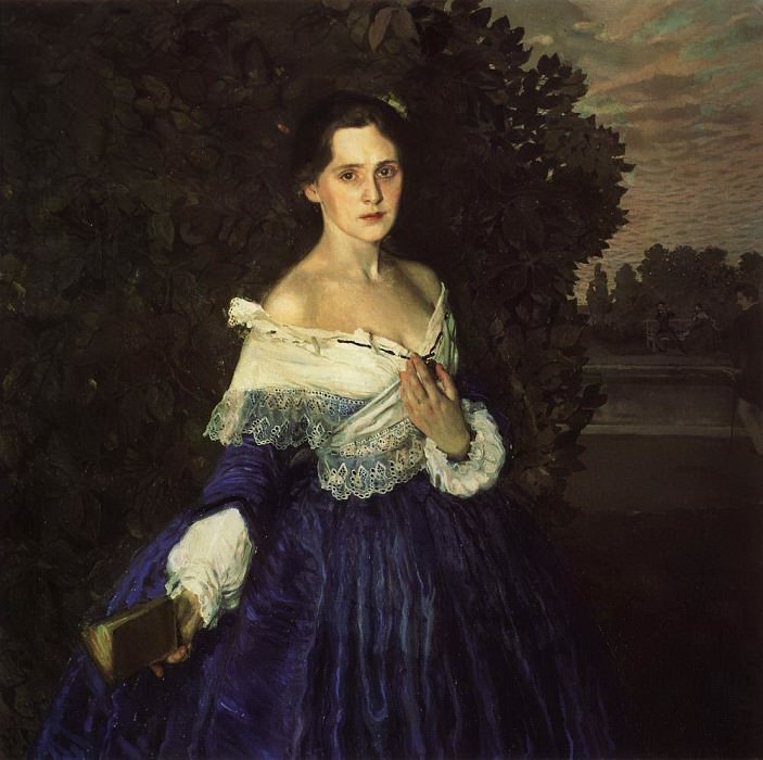 Lady in Blue (Portrait of the artist EM Martynova). 1897-1900. Konstantin Andreevich (1869-1939) Somov