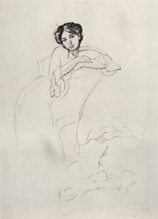 Portrait of a Woman and an outline of hands. 1902. Konstantin Andreevich (1869-1939) Somov