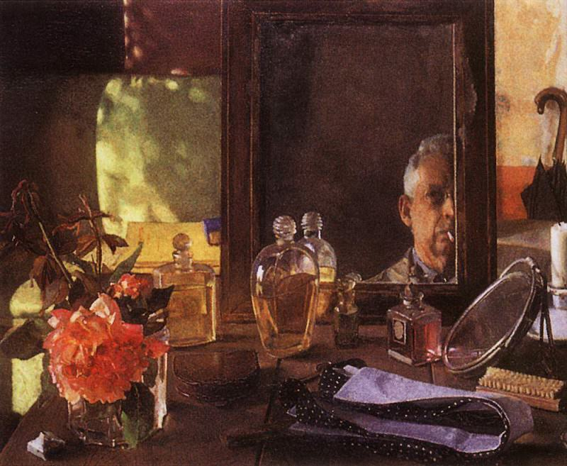 Self Portrait in the mirror. 1934. Konstantin Andreevich (1869-1939) Somov