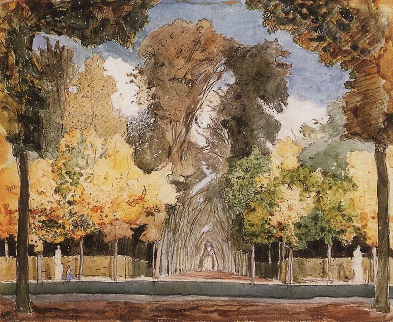 Versailles park in the autumn. 1898. Konstantin Andreevich (1869-1939) Somov