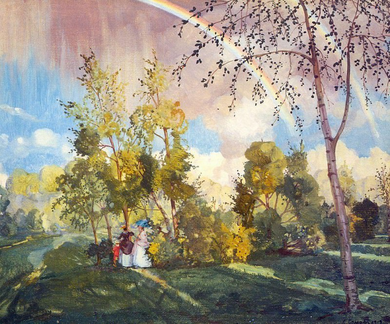 Landscape with two peasant girls and rainbows. 1918. Konstantin Andreevich (1869-1939) Somov